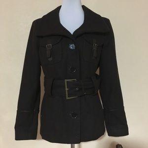 Zara Basic brown wool pea coat